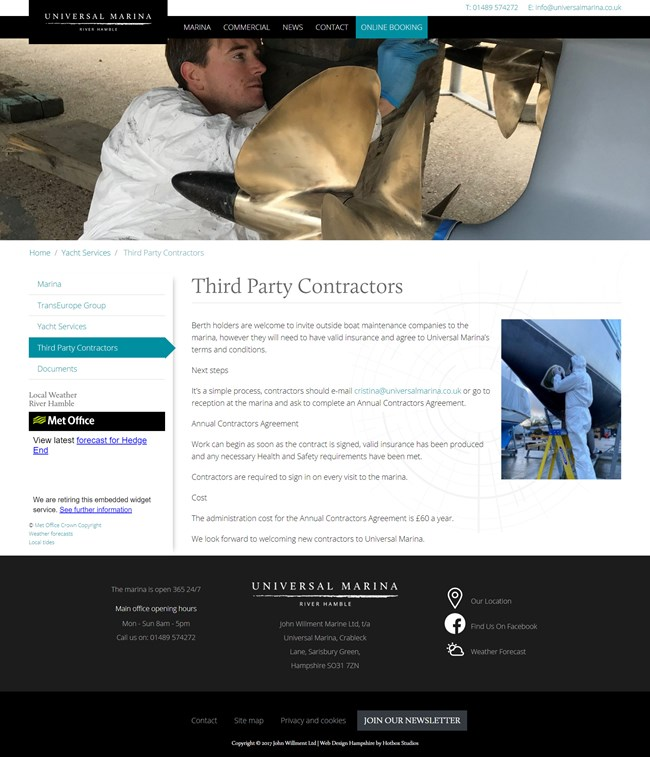 Universal Marina Website Design and WordPress Web Development SP004 Boat Care Third Party Contractors