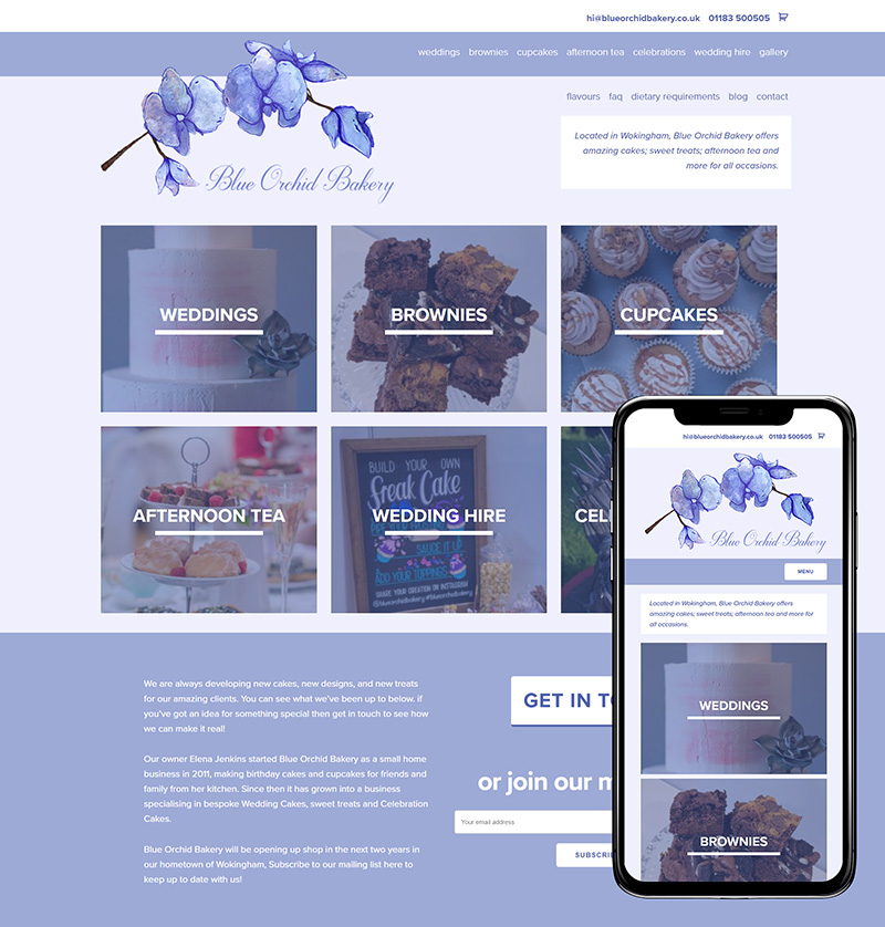 Farnham Website Design Blue Orchid Bakery SP001 Homepage Responsive 800x838Px72Dpi