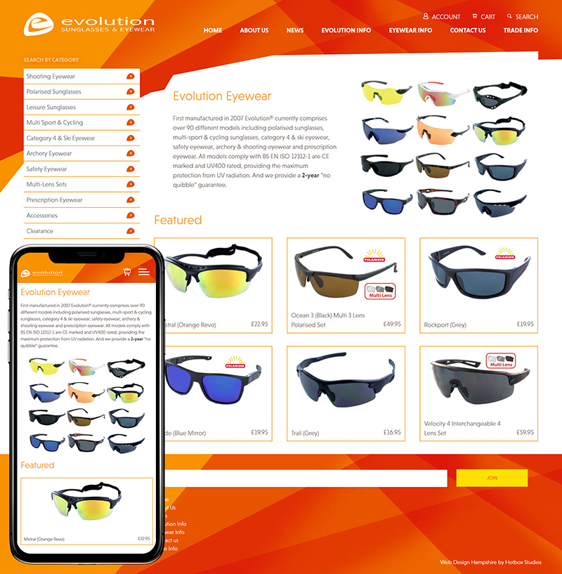 Woking Website Design Evolution Sunglasses And Eyewear SP001 Homepage Responsive 800x817Px72Dpi