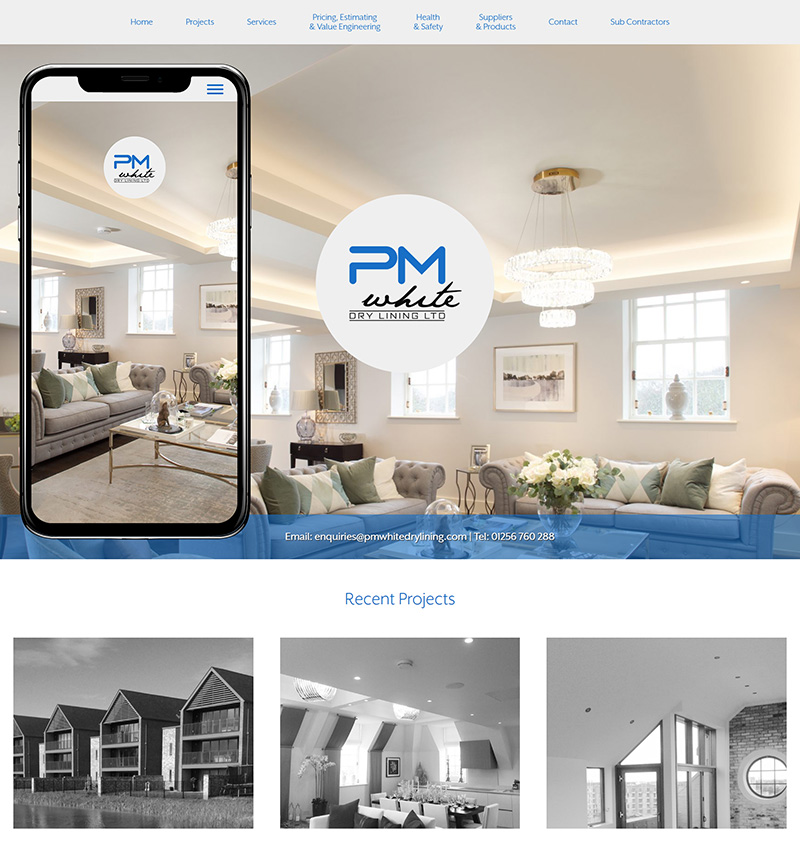 Newbury Website Design PM White Dry Lining SP001 Homepage Responsive 800x841Px72Dpi