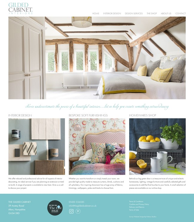The Gilded Cabinet Website Design and WordPress Web Development SP001 Homepage