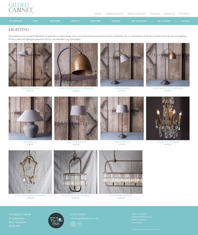 The Gilded Cabinet Website Design and WordPress Web Development SP021 Product Category Lighting