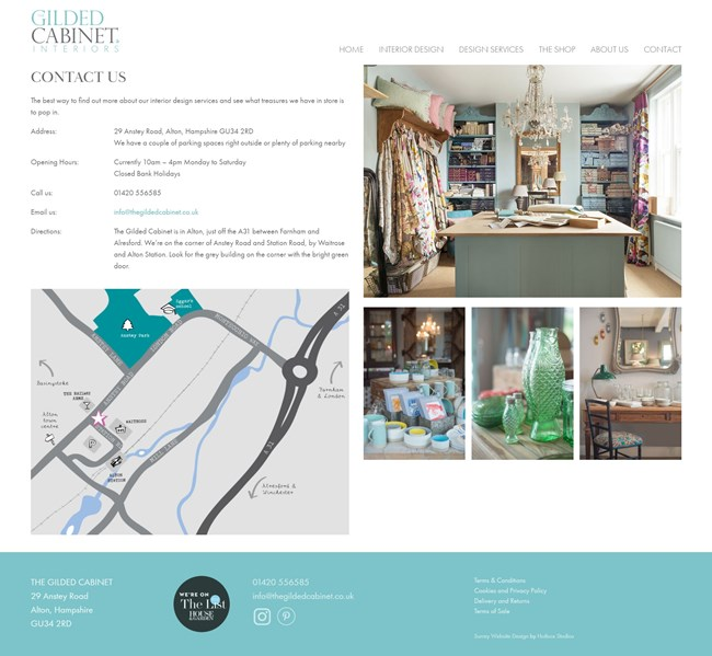 The Gilded Cabinet Website Design and WordPress Web Development SP023 Contact Us