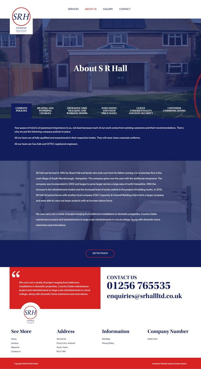 SR Hall Website Design And WordPress Web Development SP002 About