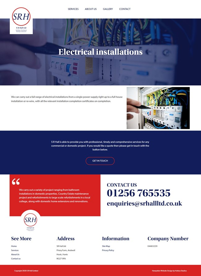 SR Hall Website Design And WordPress Web Development SP008 Electrical Installations