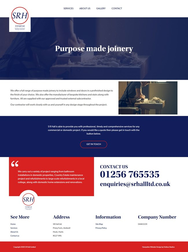 SR Hall Website Design And WordPress Web Development SP009 Purpose Made Joinery with Approved Contractor