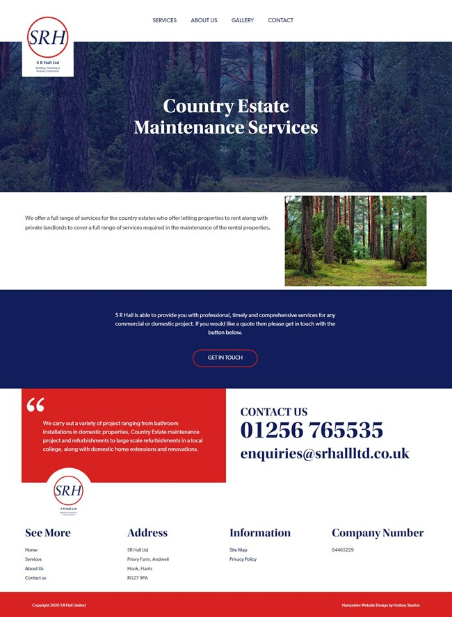 SR Hall Website Design And WordPress Web Development SP010 Country Estate Maintenance Services