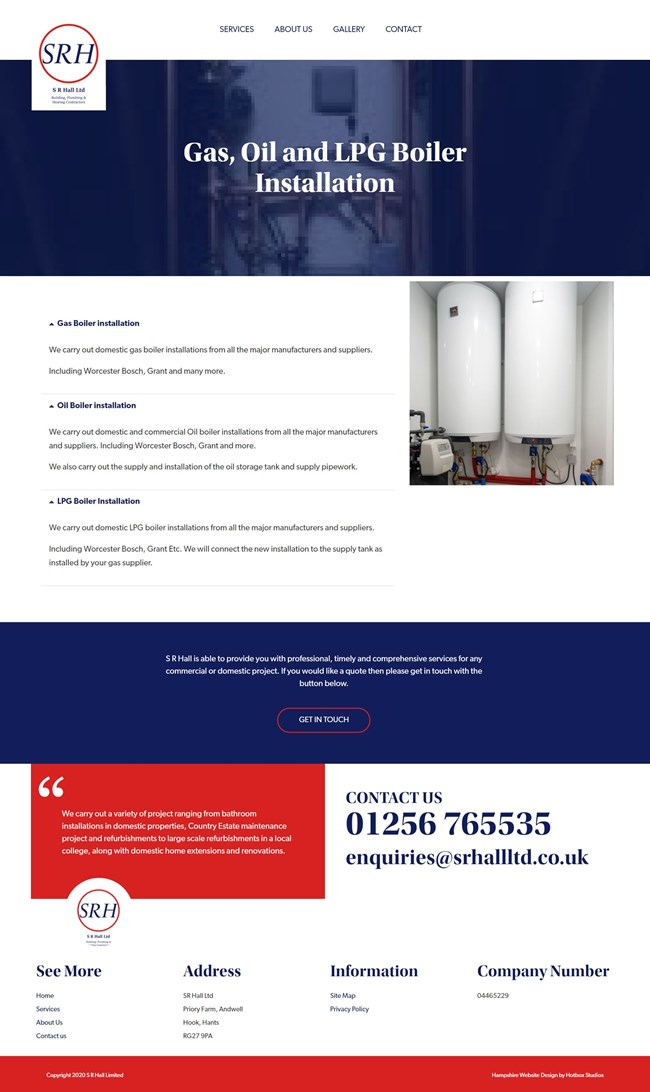 SR Hall Website Design And WordPress Web Development SP011 Gas Oil and LPG Boiler Services