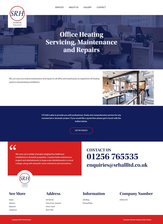 SR Hall Website Design And WordPress Web Development SP012 Office Heating Servicing Maintenance and Repairs