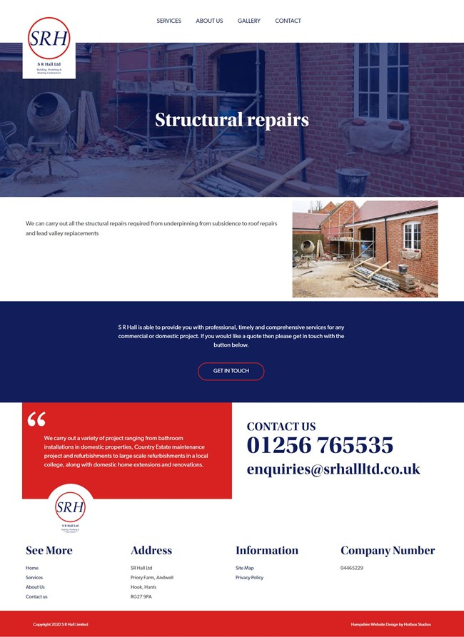 SR Hall Website Design And WordPress Web Development SP015 Structural Repairs