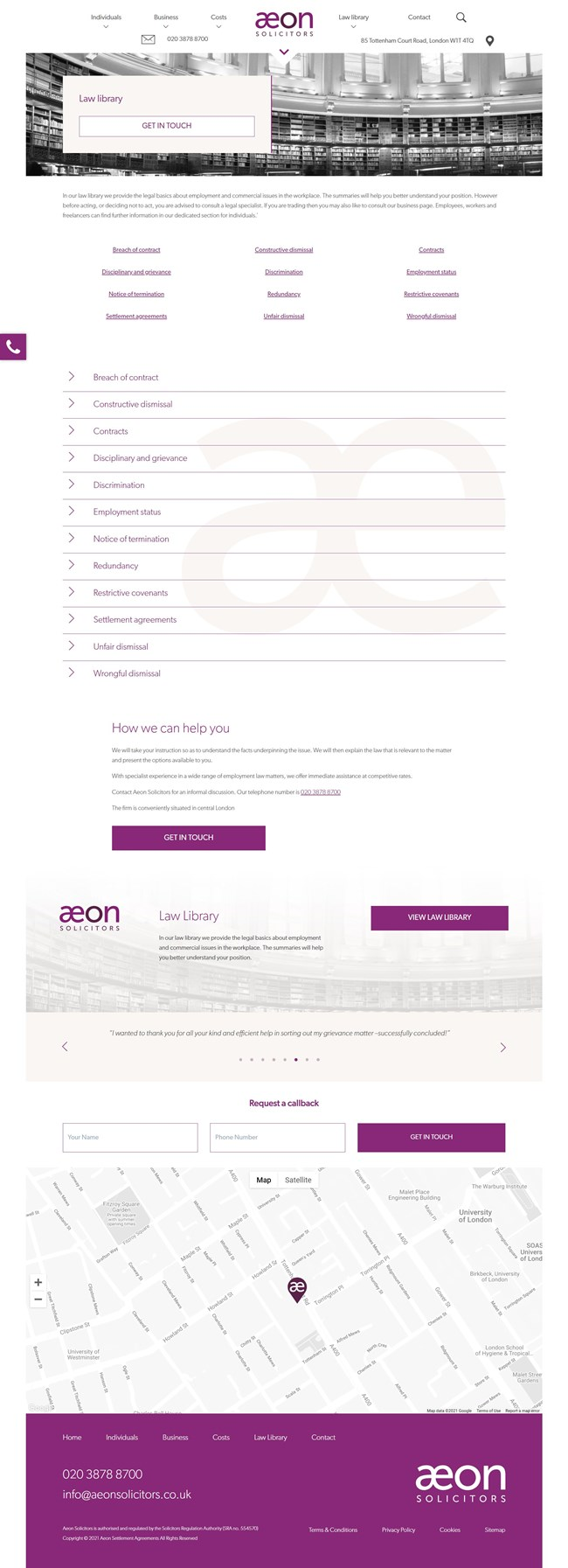 Aeon Solicitors Website Design and WordPress Web Development SP005 Law Library